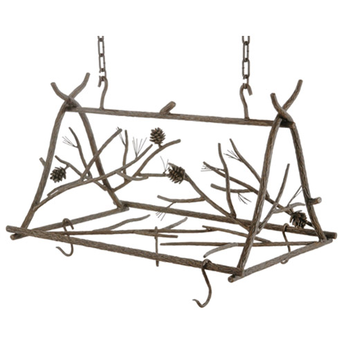 Wrought Iron Rustic Pine Pot Rack by Stone County Ironworks