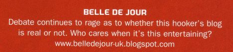 scan of belle de jour text from face magazine