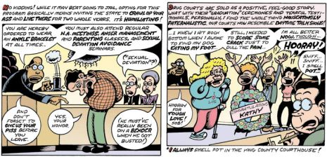 panels from a peter bagge comic about america's war on drugs...