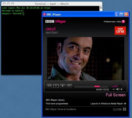BBC iPlayer running on a Mac
