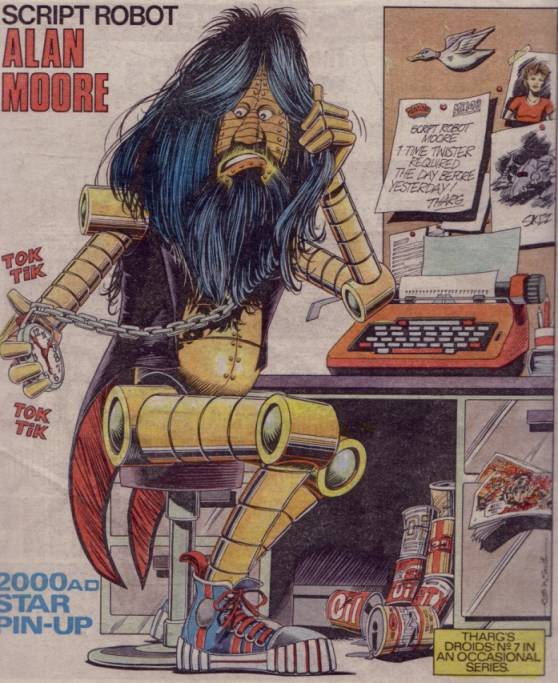 Script Robot Alan Moore on the Back Cover of 2000 #322