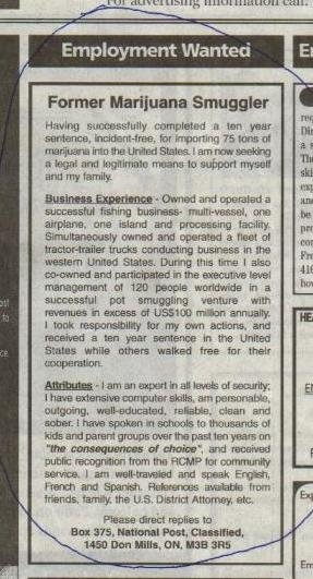 Employment Wanted - Former Marijuana Smuggler...