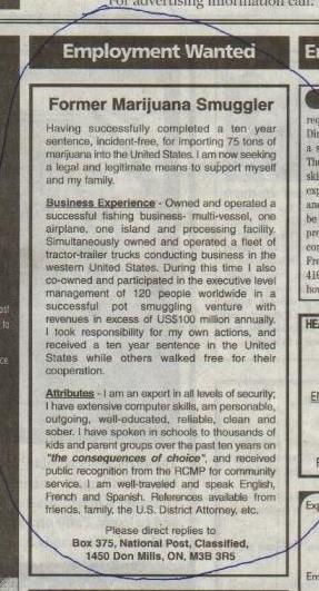 Employment Wanted - Former Marijuana Smuggler...