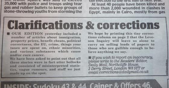 Daily Mail Clarifications & Corrections