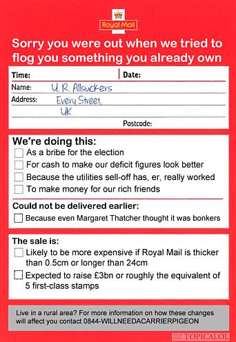 Post Office Privatisation While You Were Out Spoof Card