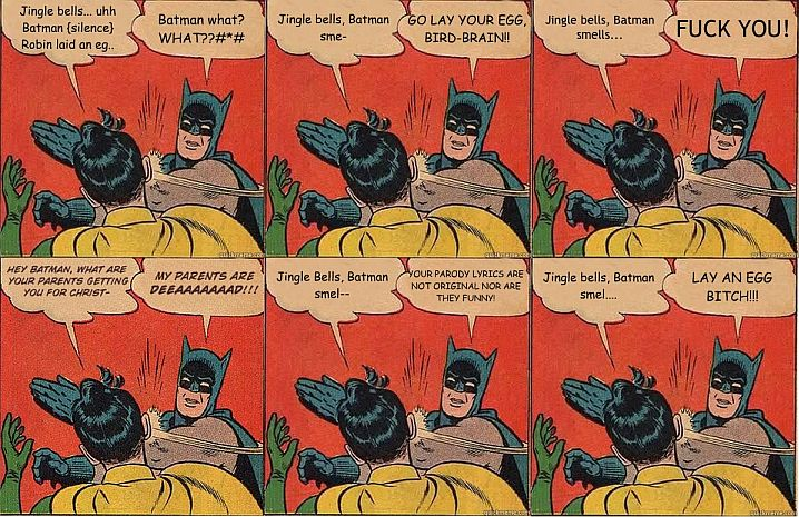 Batman Slapping Robin At Christmas Meme