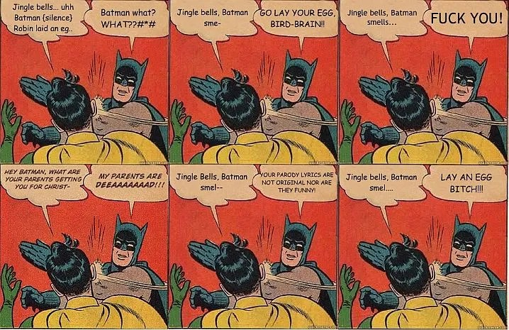 Batman Slapping Robin At Christmas Meme