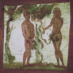 Adam and Eve, one of the most depicted dilemmas of all times. This one is from the Roman catacombs