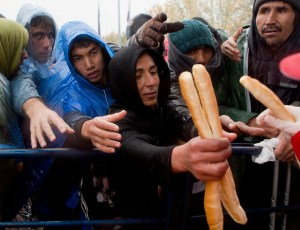 Migrants reach out for bread distributed by volunteers, at a border crossing between Croatia and Slovenia, in Trnovec, Monday, Oct. 19, 2015. Hundreds of migrants have spent the night in rain and cold at Croatia's border after being refused entry into Slovenia. (AP Photo/Darko Bandic)