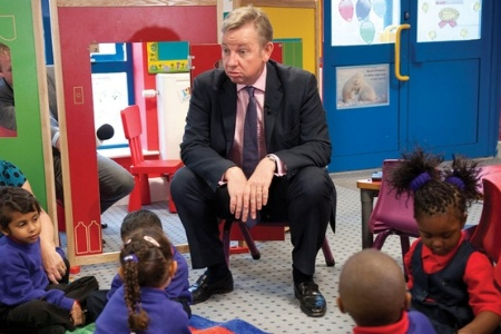 Michael Gove sitting with primary school children
