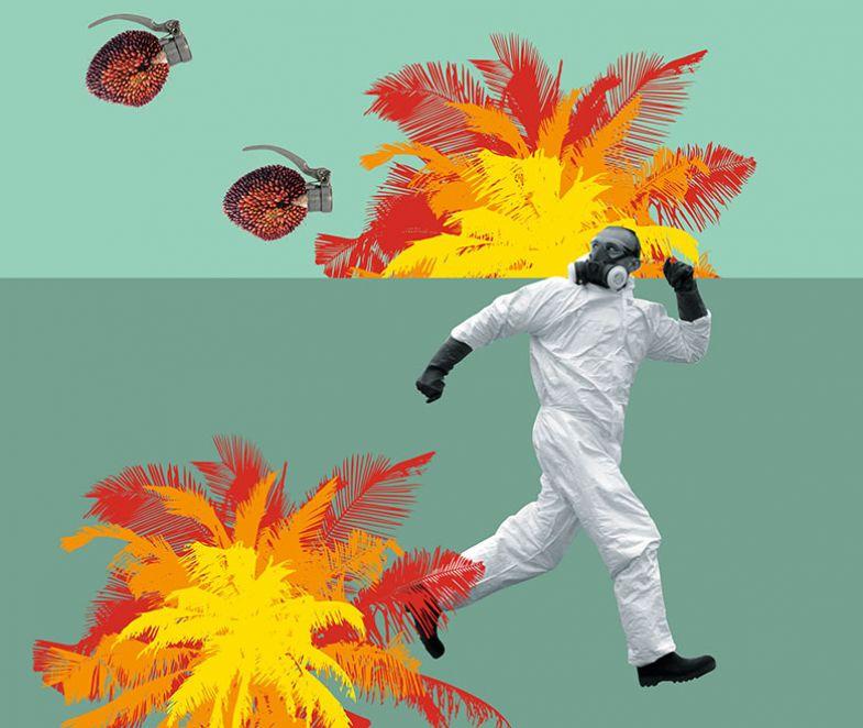 Ilustración / montaje fotográfico del hombre huyendo de granadas de mano