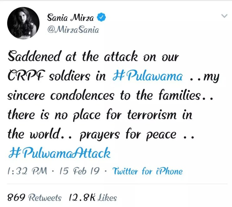 Sania's post on the Pulawama Attack.