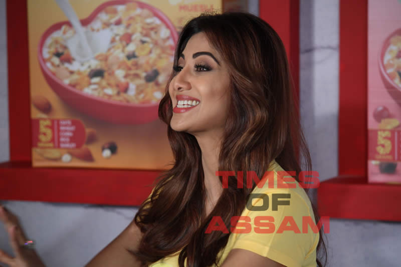 Bollywood actor Shilpa Shetty interacts with the media at the promotion of a health based product launch in Mumbai on 25th March 2017.
