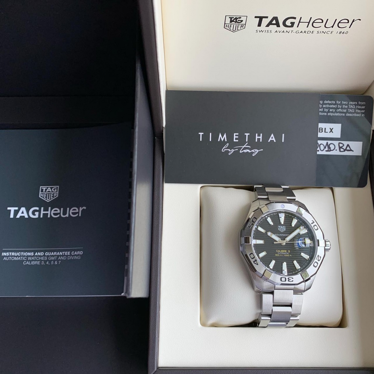 Tag Heuer รุ่น Aquaracer Black Dial SS Bezel Cal 5 ( Ref. WAY 2010 ) Men Size 43 mm.