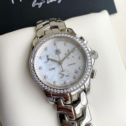 Tag Heuer รุ่น Link White Pearl Dial Chronograph With Full Diamond ( Ref. CJF 1314 ) Boy Size 35 mm.
