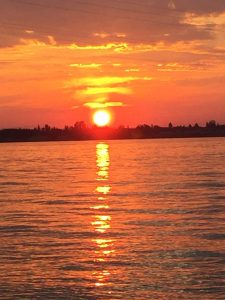 sky, sunset, lake