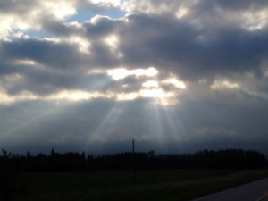 sun beams, clouds,