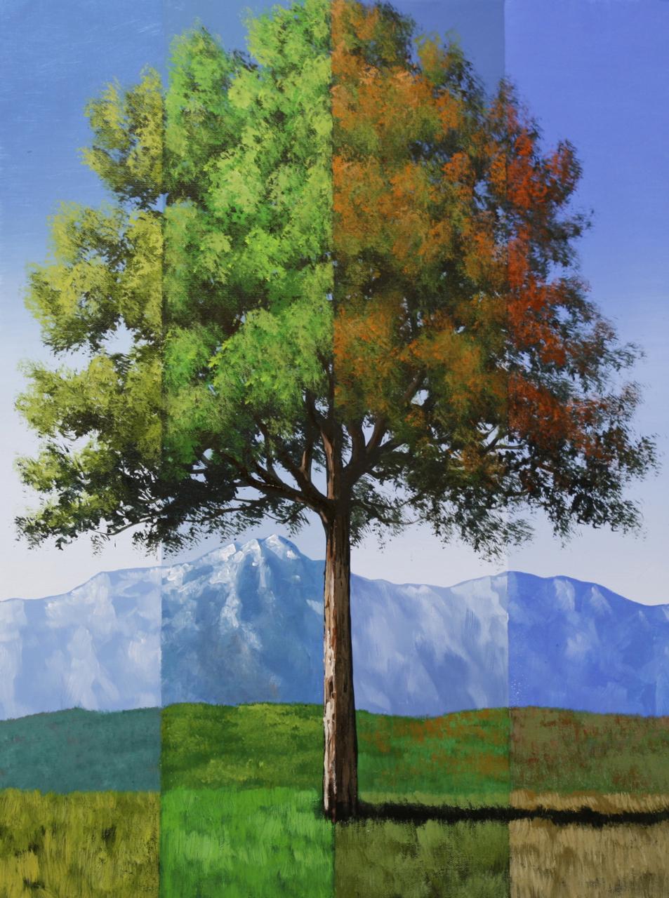 surreal timeline tree painting