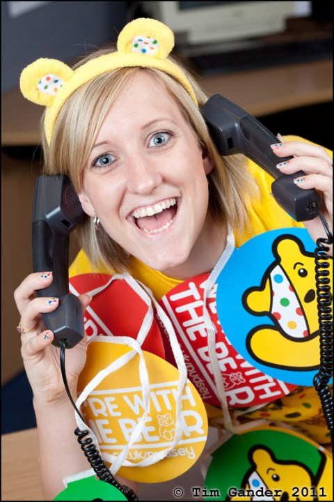 call centre lady at Wickes for Children in Need