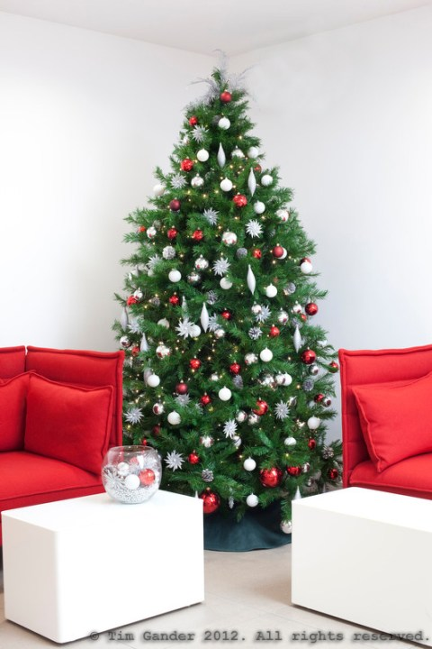 Christmas tree in office setting