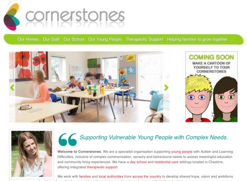 Cornerstones home page featuring a photo of one of the main classrooms