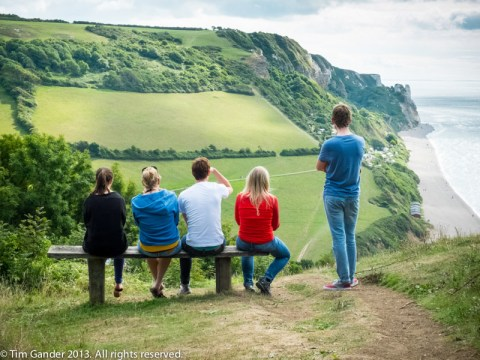 4 seated people and one standing, backs to the camera, with a view overlooking Branscombe bay, Dorset