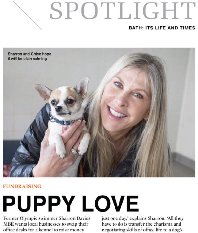 Screen grab from Bath Life magazine featuring Sharron Davies.