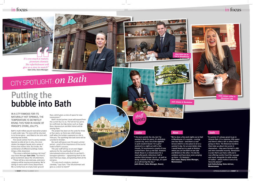 The final double-page spread showing the employees of Jolly's (a House of Fraser store) in Bath in their favourite cafes and bars.