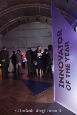Innovator of the Year glass panel in the main hall, Horticultural Halls, London as delegates gather