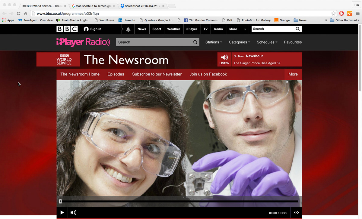 Screen grab of BBC online use of image sent out with University of Bath press release explaining the research into urine-powered fuel cells.