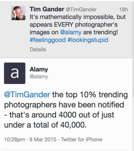 tweet and reply between Tim Gander and Alamy