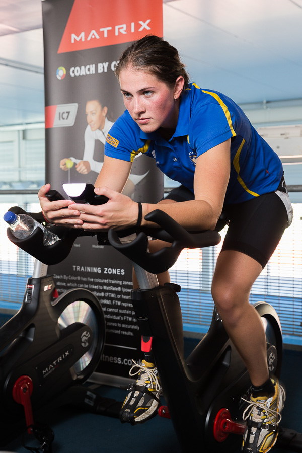 Launch of the new Matrix IC7 cycle training bikes in the Sports Training Village at University of Bath. Sports Performance student Eva Piatrikova tries out one of the new bikes.