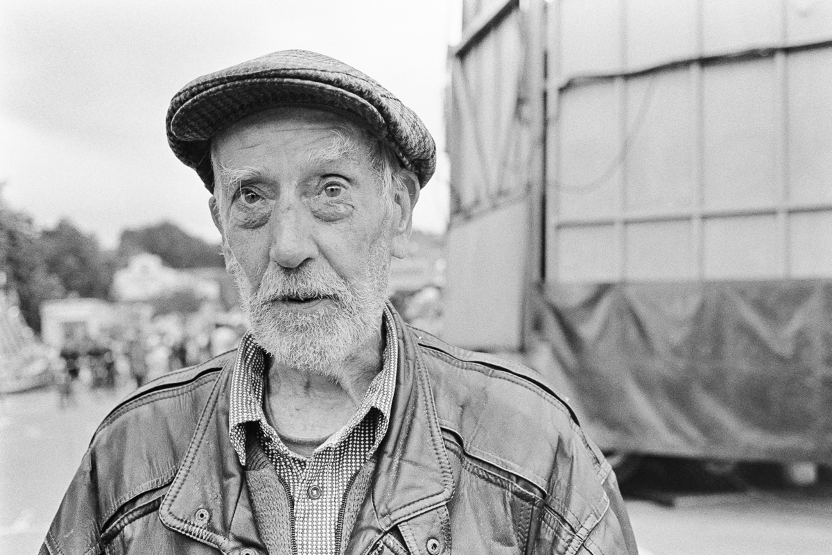 Digitised photos from black and white film, Sept 2016. Portrait of Geoff Eastaff, aged 64 of Frome, who has had to live on benefits since 1980 when his now ex wife attacked him and left him with serious head injuries.