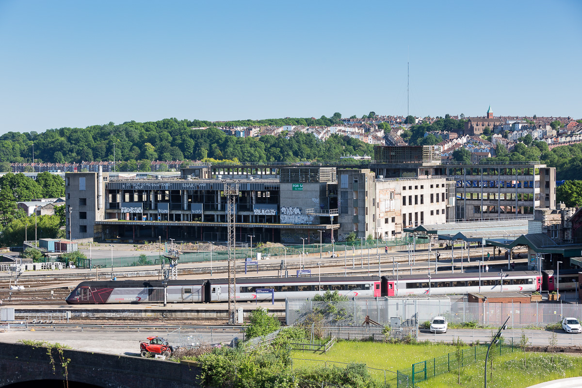 View of the old PO sorting office at Bristol Temple Meads as seen from the offices of Burgess Salmon in One Glass Wharf.