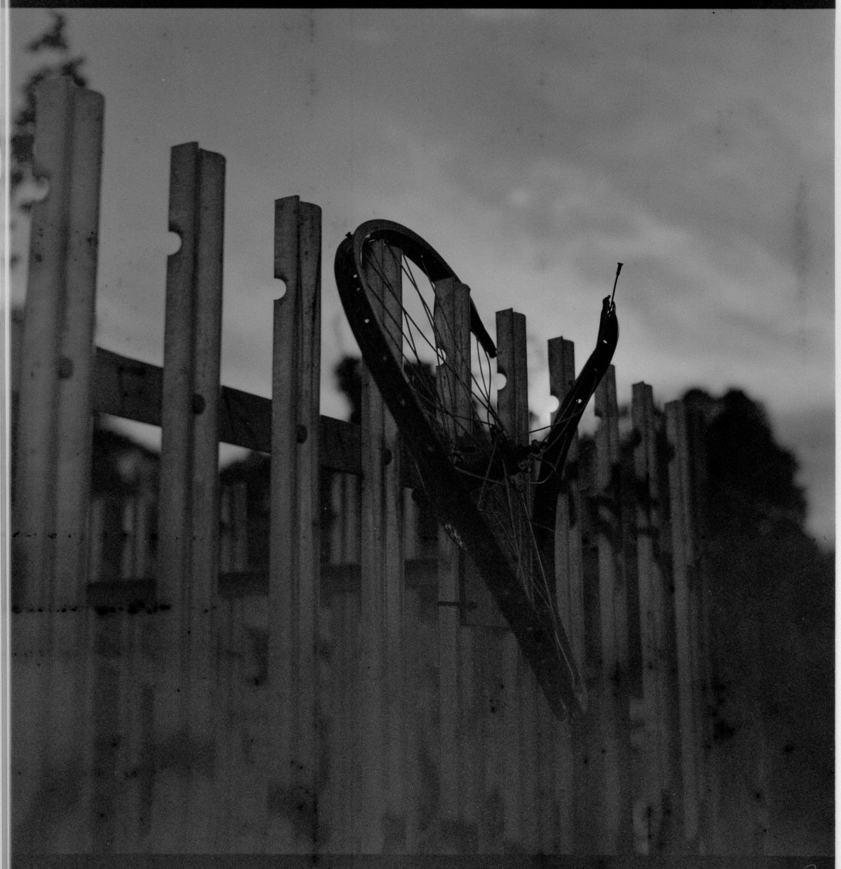 A smashed bicycle wheel hangs on a metal fence.