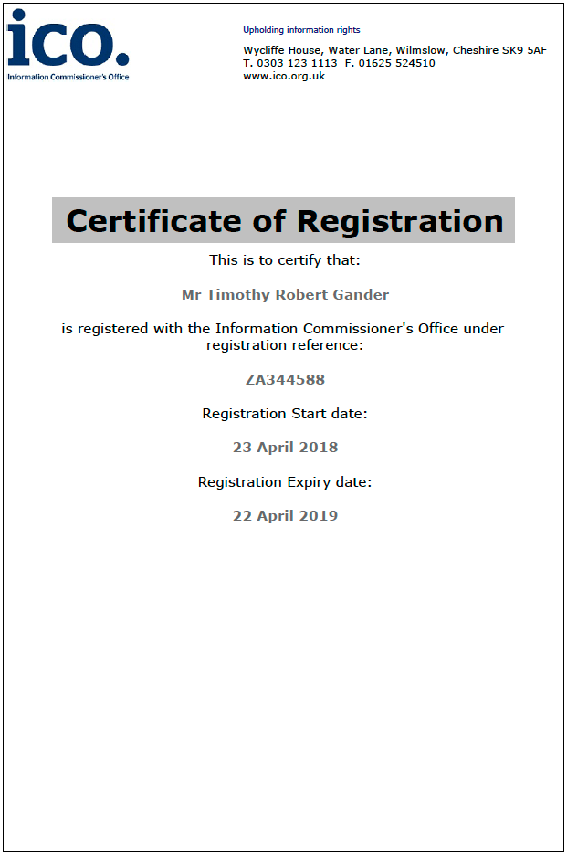 Certificate of Tim Gander's ICO registration.
