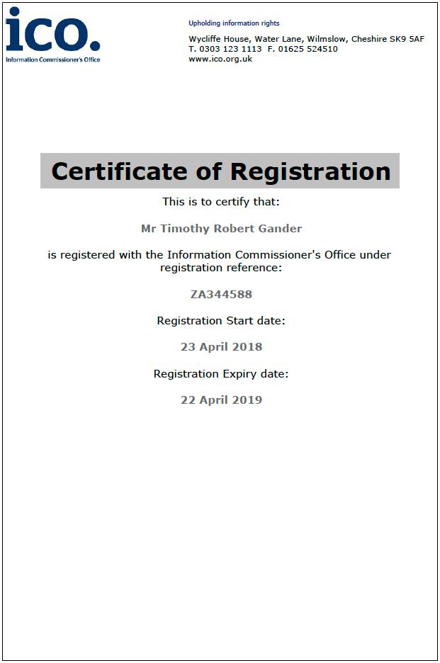 Certificate of Tim Gander's ICO registration.