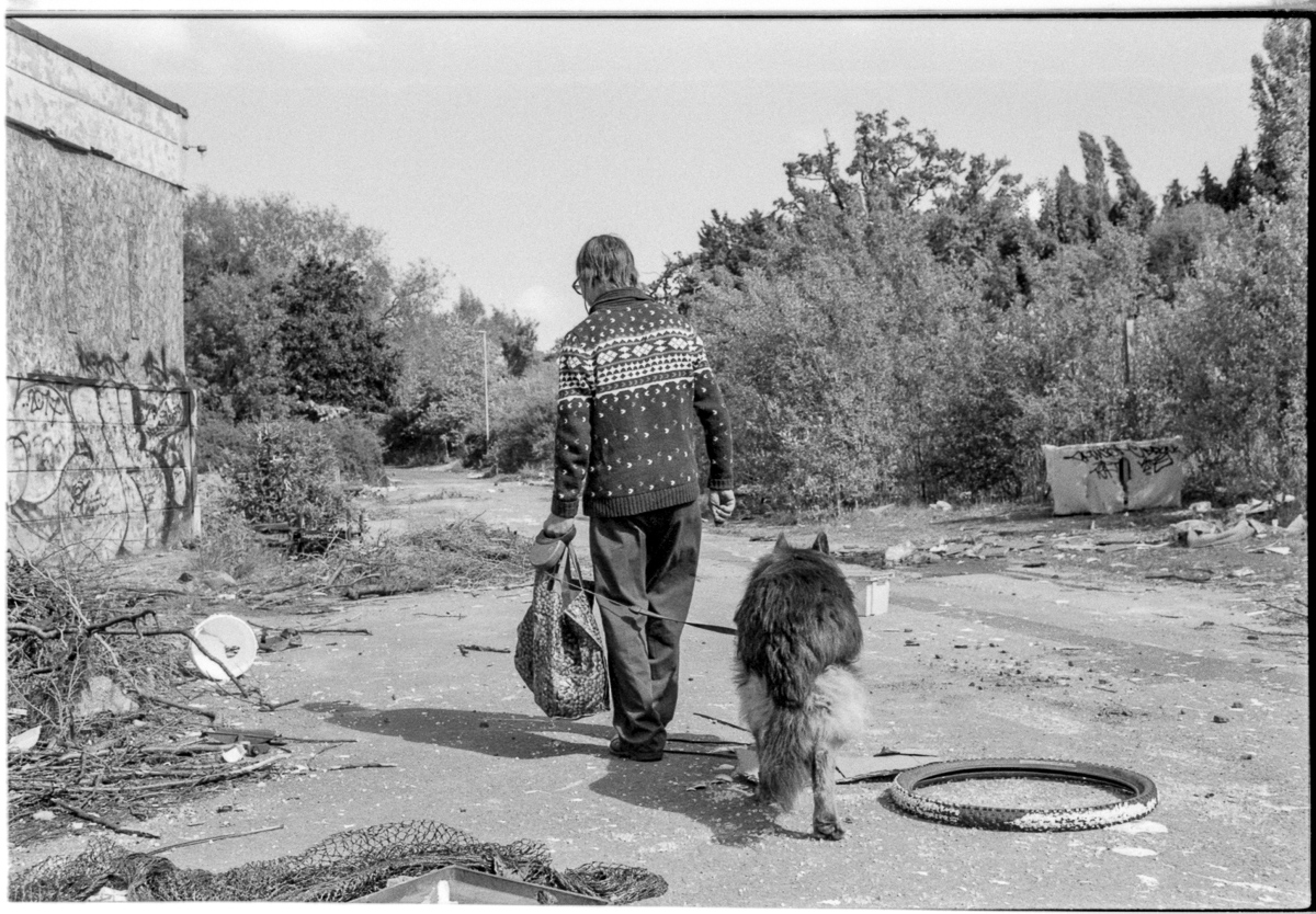 Black and white view of a man and his dog walking away from the camera. The man is carrying a bin bag.
