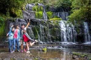 Purakaunui Falls avec nos potes !