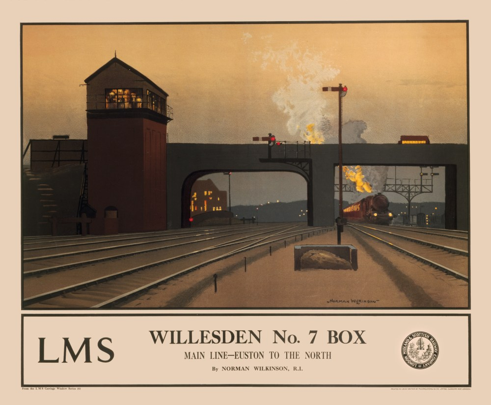 Poster produced for the London Midland & Scottish Railway (LMS). Artwork by Norman Wilkinson. A famous marine painter, Wilkinson made a major contribution to the art of camouflage. He designed posters for the London & North Western Railway, LMS and Southern Railway, and organised the Royal Academy series of posters for the LMS in 1924. He also worked for the Illustrated London News and Illustrated Mail. ""