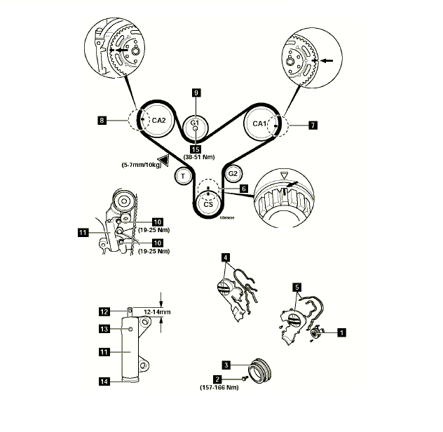 Mazda 929: Timing Belt..Diagram 52 Timing Mark Alignment