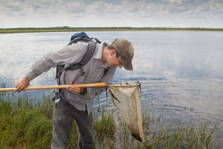 Biologist Kevin Downing condicting aquatic net surveys in northern Ontario