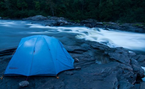 Camping by the Coulonge River inQuebec's boreal forest, near Réserve faunique La Vérendrye