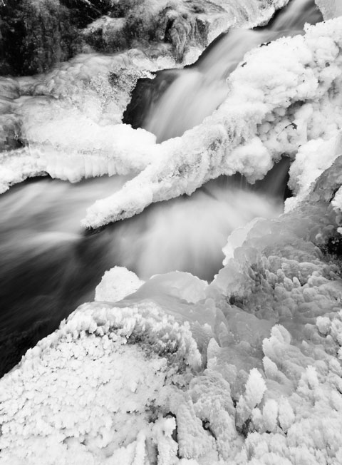 Lusk falls in winter in Gatineau Park, Quebec