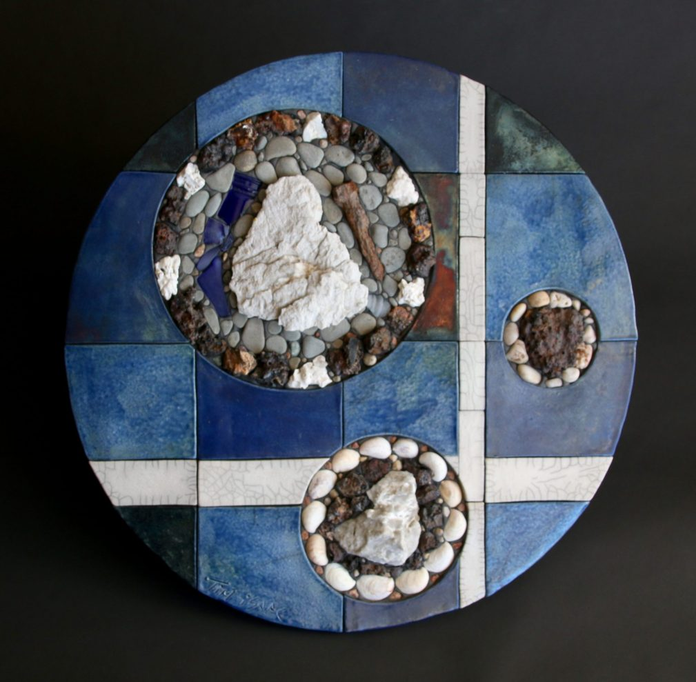 'Tales from Lunar Quarry' - 24.5 inches (62 cm) diameter. Raku fired clay, stone, ocean tumbled gypsum, kiln brick fragments, spike and beach glass.