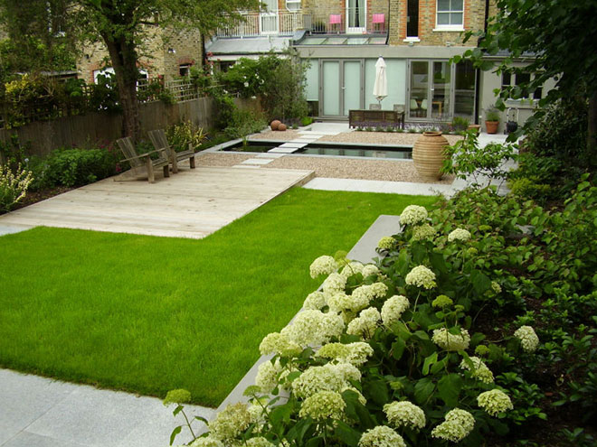 Contemporary Terraced Garden with Formal Pool