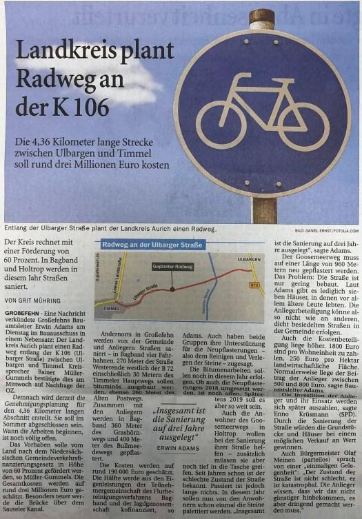 Radweg K106 Planung