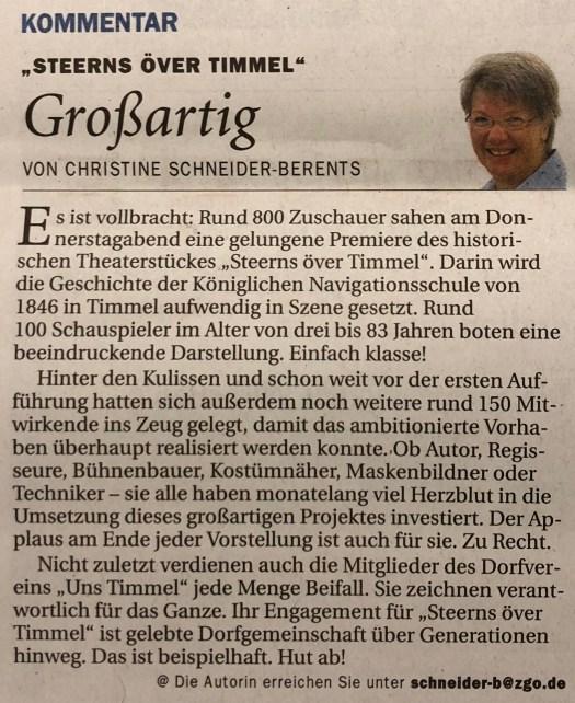 Kommentar: Steerns över Timmel (Quelle: Ostfriesen-Zeitung vom 3.11.2018)