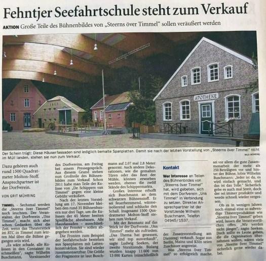 Seefahrtschule, Apotheke und Mühle stehen in Timmel zum Verkauf. Quelle: (Ostfriesen-Zeitung vom 10.11.2018)