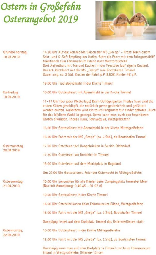 Veranstaltungen Ostern 2019 in Großefehn / Timmel